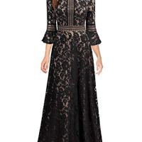 MISSMAY Women's Vintage Full Lace Contrast Bell Sleeve Formal Long Dress, X-Large, Black