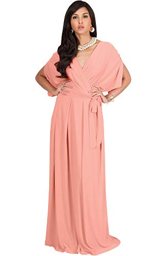 KOH KOH Womens Long Formal Short Sleeve Cocktail Flowy V-Neck Casual Bridesmaid Wedding Party Guest Evening Cute Maternity Work Gown Gowns Maxi Dress Dresses, Light Pink Peach M 8-10