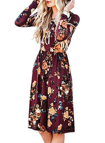 ZESICA Women's Long Sleeve Floral Pockets Casual Swing Pleated T-shirt Dress Burgundy XX-Large
