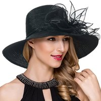 Women Kentucky Derby Church Dress Cloche Hat Fascinator Floral Tea Party Wedding Bucket Hat S052 (Black)