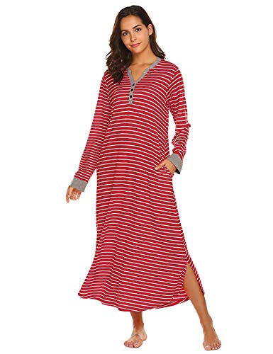 Ekouaer Warm Loungewear, Long Nightshirt Caftan Winter Nightgowns (Red Stripe, XX-Large)
