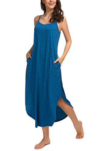 AVIIER Women Sleeveless Long Nightgown Summer Full Slip Night Dress Cotton Chemise (Blue, Large)