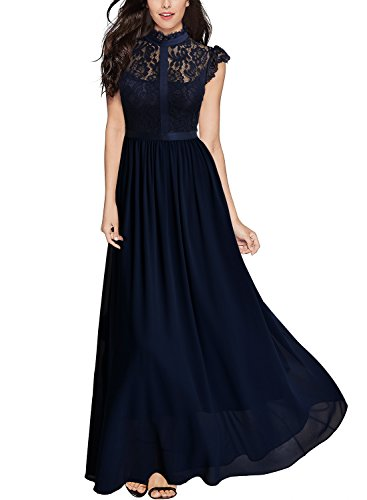 Miusol Women's Formal Floral Lace Cap Sleeve Evening Party Maxi Dress A-navy Blue Small