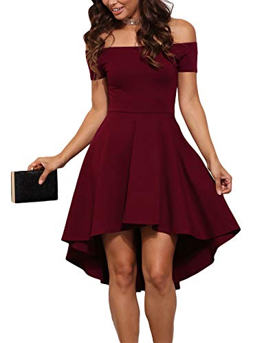 Sidefeel Women Off Shoulder Sleeve High Low Skater Dress XX-Large Red
