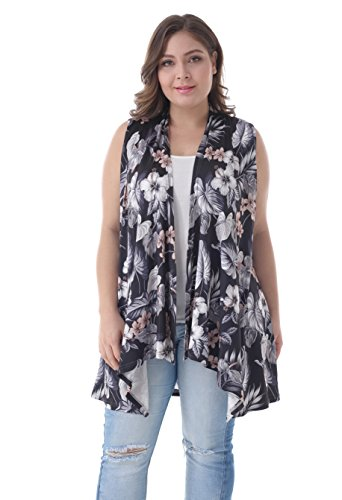 ZERDOCEAN Women's Plus Size Sleeveless Asymetric Hem Open Front Lightweight Soft Printed Drape Cardigan 808 1X