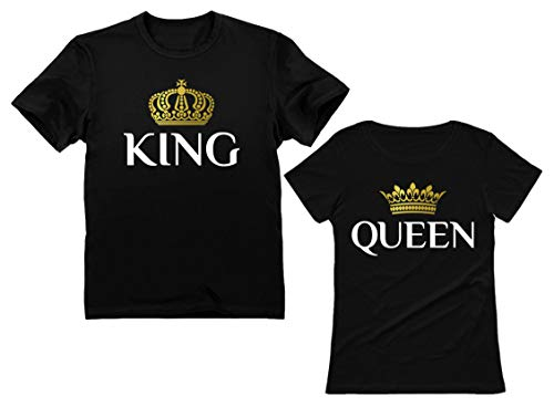 King & Queen Matching Couple Set Valentine's Day Gift His & Hers T-Shirt Men XX-Large / Women X-Large