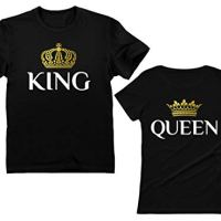 King & Queen Matching Couple Set Valentine's Day Gift His & Hers T-Shirt Men XX-Large / Women Large