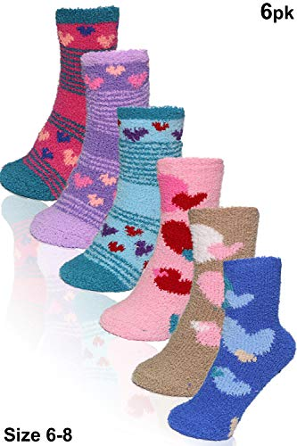 Basico -Valentine's Day Gift – Soft Warm Microfiber Fuzzy Winter Socks Crew 6 Pairs (6pk Heart Stripes)