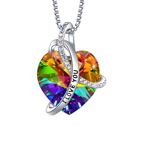 EleShow Gifts for Girlfriend I Love You Necklaces for Women, Colorful Swarovski Crystal