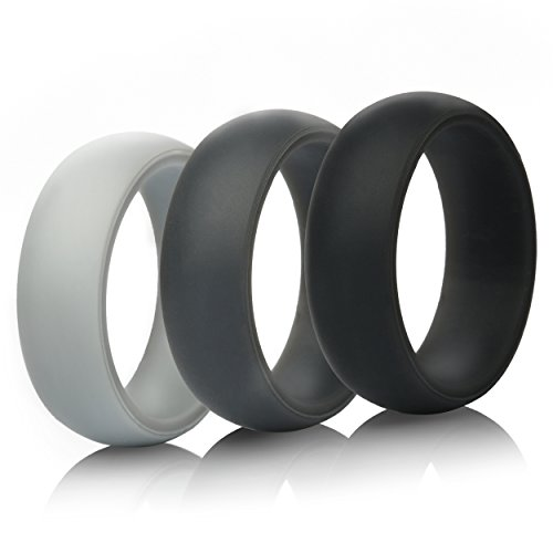 Mens Valentine's Day Gift-Silicone Wedding Ring Wedding Band – 3 Rings Pack – 8.7mm Wide (2mm Thick) – Black, Gray, Light Gray