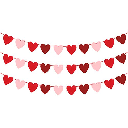 Felt Heart Garland Banner – NO DIY – Valentines day Banner Decor – Valentines Decorations – Anniversary, Wedding, Birthday Party Decorations – Red, Rose Red and Light Pink Color, for Home Office Decor