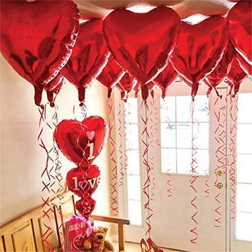 12 + 1 Red Heart Shape Balloons – 1 I Love U Balloon – Helium Supported – Love Balloons – Valentines Day Decorations and Gift Idea for Him or Her, Wedding Birthday Decorations,Ribbon & Straw Included
