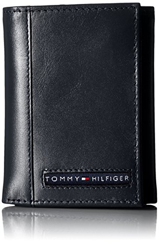 Tommy Hilfiger Men's Trifold Wallet-Sleek and Slim Includes ID Window and Credit Card Holder, Navy, One Size