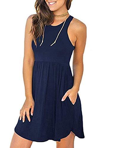 Beyove Women Summer Sleeveless Plain T Shirts Dresses Casual Short Dress with Pockets Navy Blue