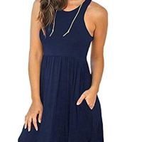 Beyove Women Summer Sleeveless Plain T Shirts Dresses Casual Short Dress with Pockets Navy Blue