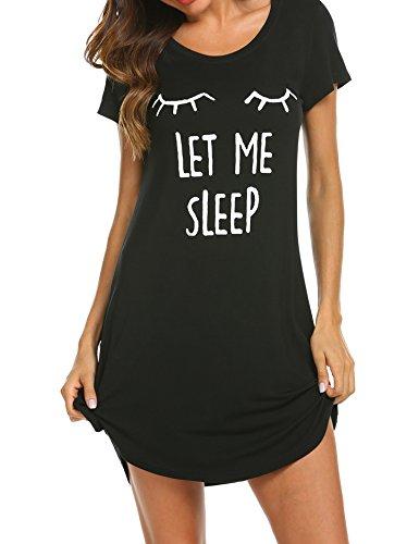 Hotouch Women's Short Sleeve Printed Scoop Neck Sleep Tee Black L