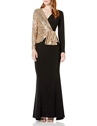 Adrianna Papell Women's Sequin Jersey Mixed Gown, Black/Gold, 10