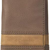 Columbia Men's RFID Leather Wallet - Big Skinny Trifold Vertical Security Protection Credit Card Slots and ID Window, Brown1, One sizee