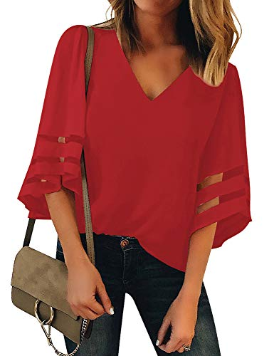 LookbookStore Women's Red V Neck Casual Mesh Panel Blouse 3/4 Bell Sleeve Solid Color Loose Top Shirt Size S(US 4-6)