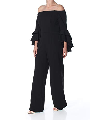 Adrianna Papell Women's Knit Crepe Off The Shoulder Jumpsuit, Black, 16
