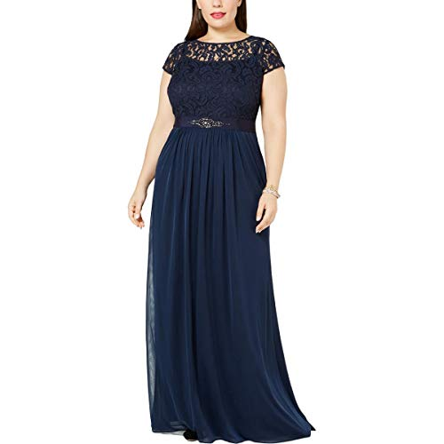 Adrianna Papell Womens Plus Embellished Cap Sleeve Evening Dress Navy 4
