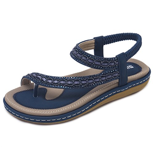 CARETOO Women's Summer T-Strap Bohemian Flat Sandals Flower Slip on Shoes Flip Flops (5.5 B(M) US = Lable 37, Navy Blue-3)