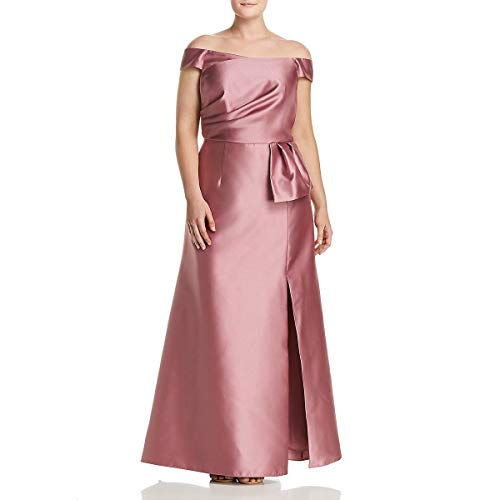 Adrianna Papell Womens Plus Mikado Off-The-Shoulder Evening Dress Pink 20W