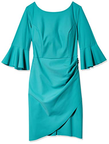 Alex Evenings Women's Plus-Size Short Slimming Sheath Dress with Bell Sleeves, Aqua, 18W