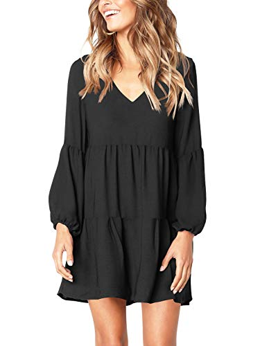 Amoretu Women's Cute V-Neck Lantern Sleeve Loose Tunic Dress Knee Length Black M