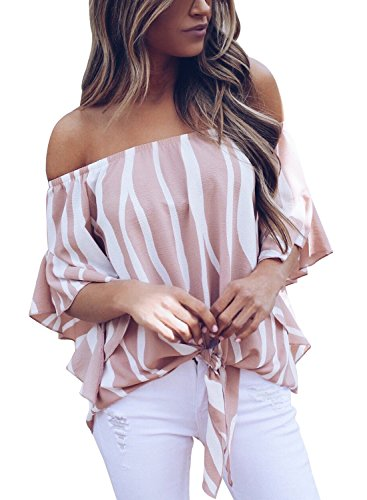 Asvivid Womens Summer Striped Off The Shoulder Tops 3 4 Flared Bell Sleeve Blouses Casual Tie Knot Ladies T-Shirt S Pink