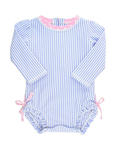RuffleButts Baby/Toddler Girls Long Sleeve One Piece Swimsuit – Blue Seersucker with UPF 50+ Sun Protection – 6-12m