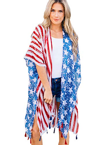 Women's American Flag Print Kimono Cover Up Tops, 4th of July Shirts for Women (American Flag)
