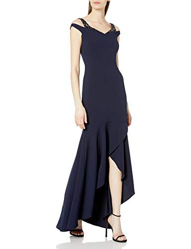 Adrianna Papell Women's Plus Size Embellished Cutout Mermaid Gown (16W Midnight)