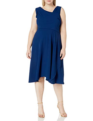 Adrianna Papell Women's Plus Size Soft Draped A-LINE Dress, Navy, 16
