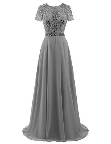 Long Evening Gowns Chiffon Prom Dresses Junior Formal Party Dress Beaded Maxi Plus Size Sleeves Size US 24W Steel Grey