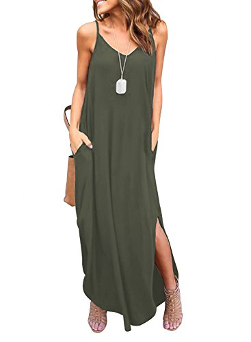 HUSKARY Women's Summer Casual Sleeveless V Neck Strappy Split Loose Dress Beach Cover Up Long Cami Maxi Dresses with Pocket Army Green