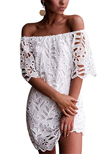 PRETTYGARDEN Women's Sexy Off Shoulder Vintage Floral Lace Flare Short Sleeve Loose Elegant Mini Dress (White, Small)