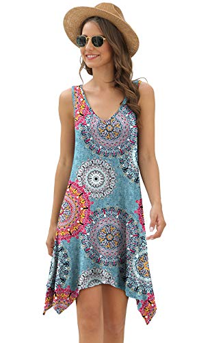 POPYOUNG Womens Bathing Suit Swimsuit Cover ups for Swimwear Beach Coverup Dress X-Large,Floral Mix Blue