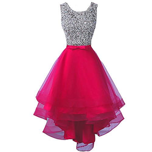 Sheer Beaded High Low Tulle Formal Prom Evening Homecoming Dresses Fuchsia US 6