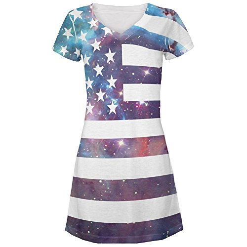 4th of July Galaxy American Flag All Over Juniors V-Neck Dress – Small