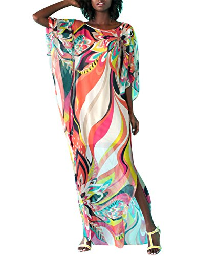 Bsubseach Women Chiffon Swimwear Turkish Kaftan Swimsuit Cover Up Caftan Beach Long Dress