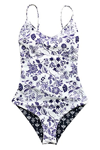 Cupshe Fashion Light Up The Night Print One-Piece Swimsuit Beach Swimwear Bathing Suit ,Multicolor,Medium