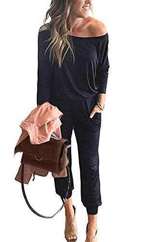 PRETTYGARDEN Women's Casual Long Sleeve Jumpsuit Crewneck One Off Shoulder Elastic Waist Stretchy Romper with Pockets (Black, Small)