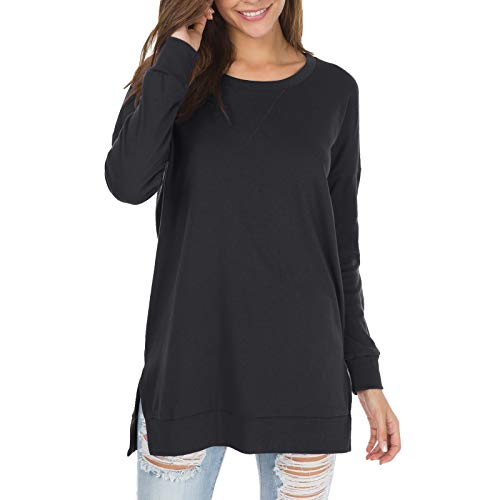 Womens Fall Long Sleeve Plus Pullover Side Split Loose Casual Tunic Tops Black L