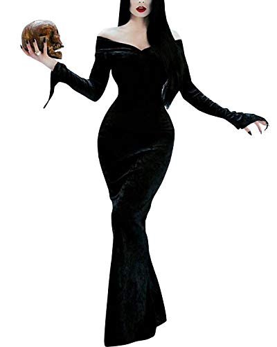 Scary Halloween Costumes Women Off Shoulder Morticia Addams Family Dress Black XXL
