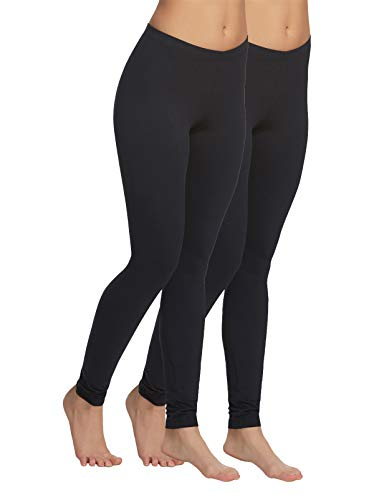 Velvety Super Soft Lightweight Legging 2-Pack (Black, Medium)