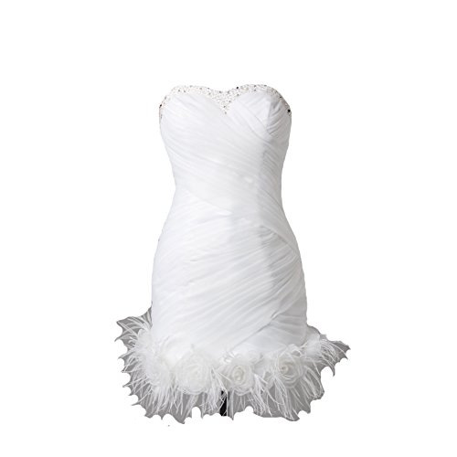 Kivary Women's Short Little White Beaded Feathers Informal Wedding Prom Cocktail Dresses US 14