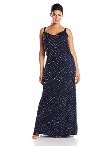 Adrianna Papell Women's Plus-Size Long Blouson Beaded Dress, Navy, 22W