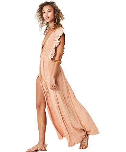 N-A Jen Pirates Booty Style – Wynwood Maxi Dress | Natural Color Coverup | Boho Beach Wrap | Lightweight Flowy & Elegant | 100% Rayon for Women. (Small)