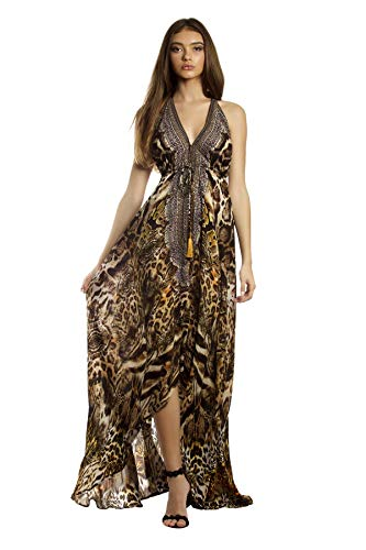 La Moda Clothing Animal Print Backless High End Resortwear Silk Dress | Designer Deep V-Neck Resort Wear| by GOGA Swimwear